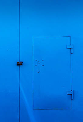 Photograph - Bright Blue Locked Door And Padlock by John Williams