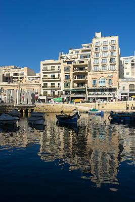 Maltese Photograph - Bright Blue Love Upside Down - St Julians Harbor Malta  by Georgia Mizuleva