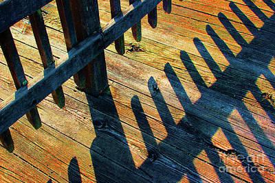 Photograph - Bright Boardwalk Shadows With Glitter by Karen Adams