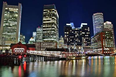 Photograph - Bright Boston Lights On The Water by Frozen in Time Fine Art Photography