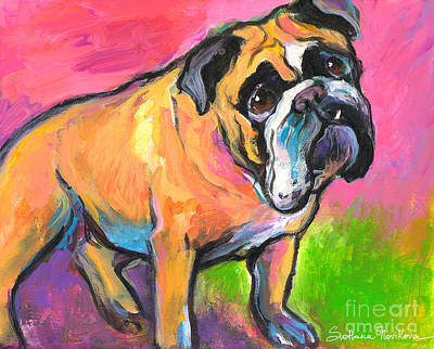 Bulldog Oil Painting - Bright Bulldog Portrait Painting  by Svetlana Novikova