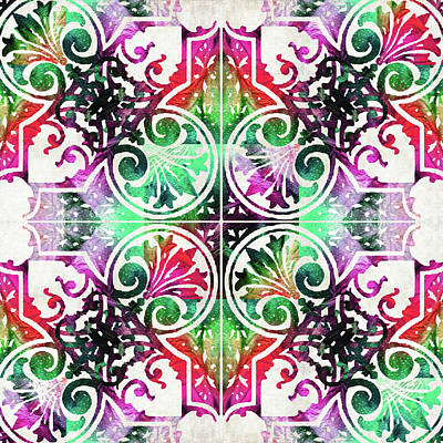Lace Painting - Bright Colorful Pattern Art - Color Fusion Design 10 By Sharon Cummings by Sharon Cummings