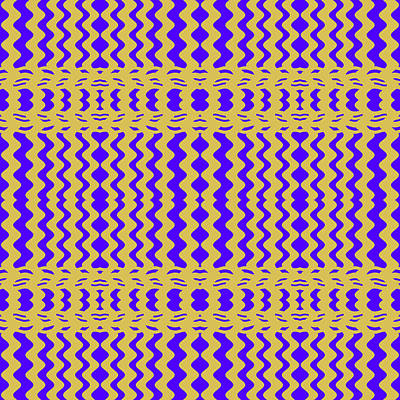 Digital Art - Bright Colorful Purple Yellow Wavy Lines by BrightVibesDesign