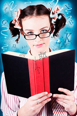 Bright Cute Girl Studying Education Textbook Art Print