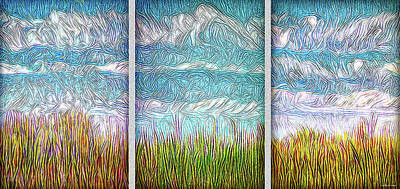 Digital Art - Bright Fields Triptych by Joel Bruce Wallach