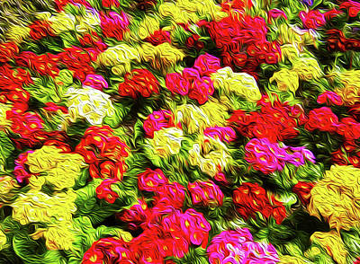 Bright Flowers Art Print by Les Cunliffe