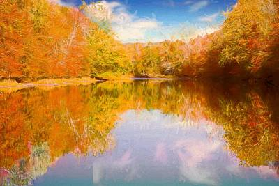 Digital Art - Bright Foliage Reflected In Shetucket River Eastern Ct. by Rusty R Smith