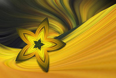 Bright Golden Star Art Print by Linda Phelps