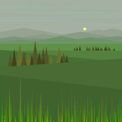 Digital Art - Bright Green Fields by Val Arie