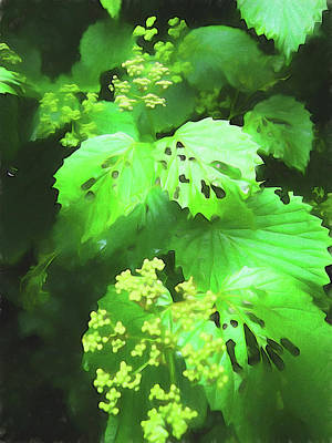 Photograph - Bright Green Foliage Painterly by Mary Bedy