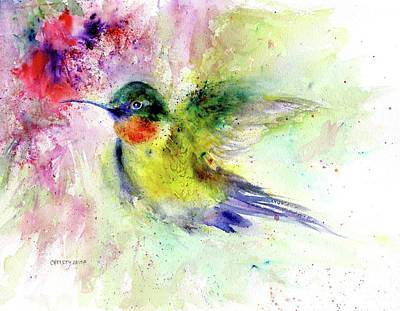 Painting - Bright Guy Hummingbird by Christy Lemp