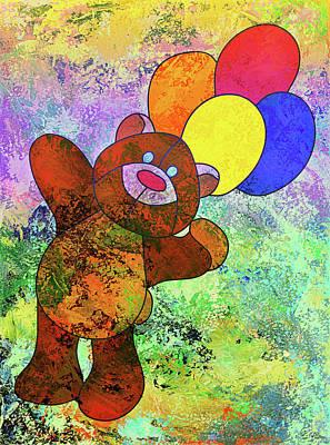 Child Art Mixed Media - Bright Happy Bear Modern Children Art by Georgiana Romanovna