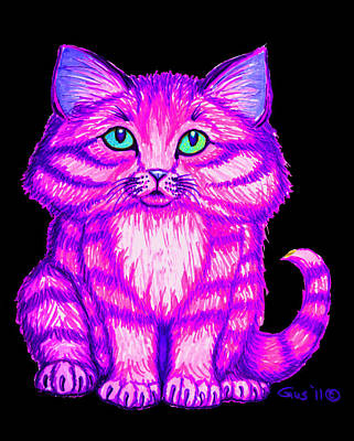 Fun Cats Drawing - Bright Kitty by Nick Gustafson