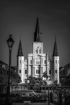 Photograph - Bright Light On Saint Louis Cathedral In Black And White by Chrystal Mimbs