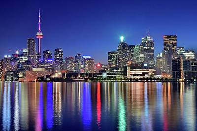 Toronto Maple Leafs Photograph - Bright Lights In Toronto by Frozen in Time Fine Art Photography