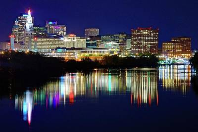 Photograph - Bright Lights On A Blue Night In Hartford by Frozen in Time Fine Art Photography