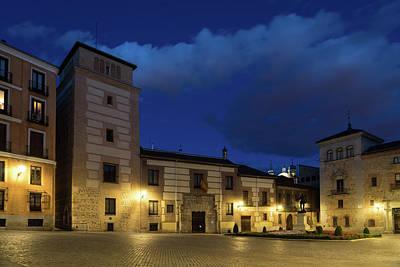 Photograph - Bright Midnight - Plaza De La Villa In Madrid Spain by Georgia Mizuleva