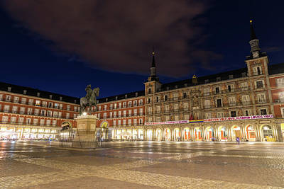 Photograph - Bright Midnight - Plaza Mayor In Madrid Spain by Georgia Mizuleva