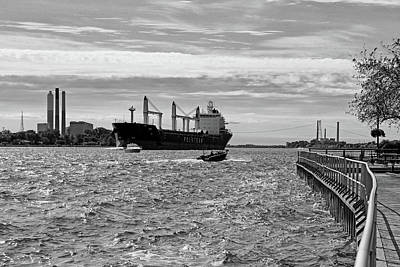 Photograph - Bright Morning On The River Bw by Mary Bedy