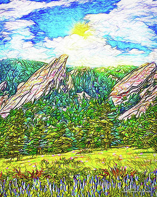 Digital Art - Bright Mountain Meadow - Park In Boulder Colorado by Joel Bruce Wallach