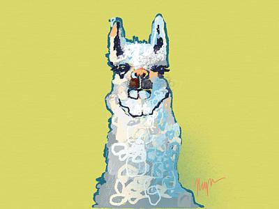 Bright Mustard Llama Art Print by Niya Christine