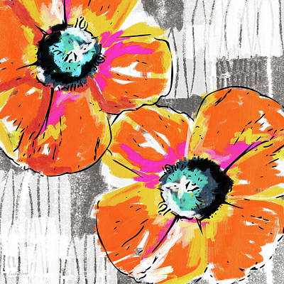 Bright Orange Poppies- Art By Linda Woods Art Print
