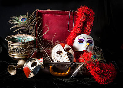 Ceramic Beads Photograph - Bright Porcelain Mask Red Suitcase Peacock Feather by Nelson Charette