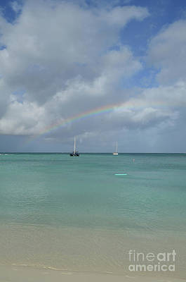 Photograph - Bright Rainbow Over Two Anchored Boats In Aruba by DejaVu Designs