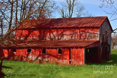 Digital Art - Bright Red Barn by Kathy Russell