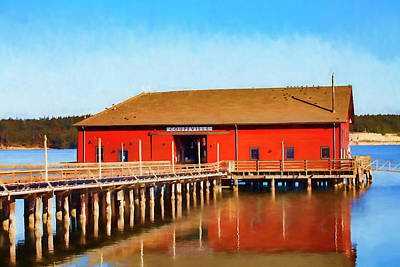 Painterly Photograph - Bright Red Coupeville Wharf On Whidbey Island by Carol Leigh