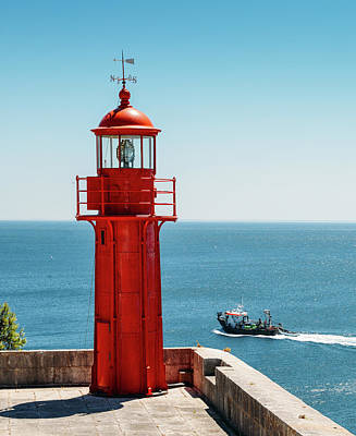 Photograph - Bright Red Portuguese Lighthouse by Alexandre Rotenberg