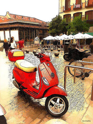 Spain Digital Art - Bright Red Vespa by Alan Armstrong