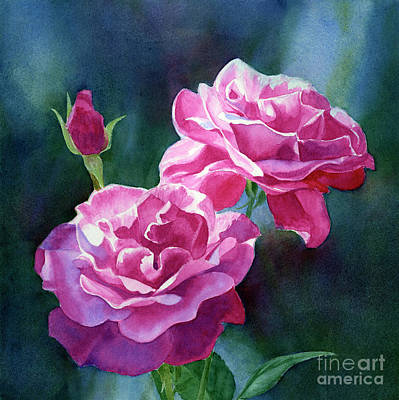 Bright Red Violet Roses With Dark Background Original by Sharon Freeman