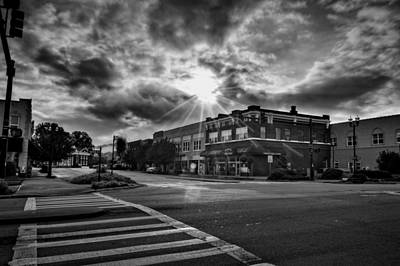 Crosswalk Photograph - Bright Sun In Murphy North Carolina In Black And White by Greg Mimbs