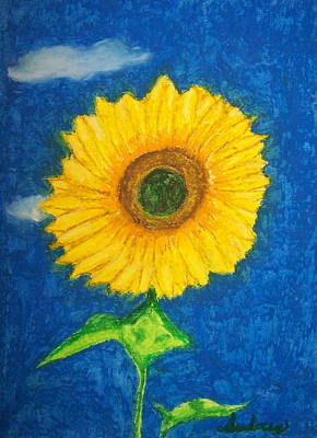Oil Drawing - Bright Sunflower by Audrey Hughes