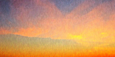 Digital Art - Abstract Landscape Under Bright Sunset by Ben and Raisa Gertsberg