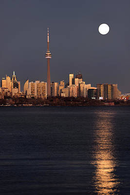 Toronto Photograph - Bright Supermoon And Reflection In Lake Ontario With Golden Toro by Reimar Gaertner