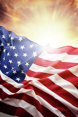 Photograph - Bright Usa Flag 1 by Les Cunliffe