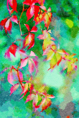 Digital Art - Bright Watercolor Leaves by Femina Photo Art By Maggie