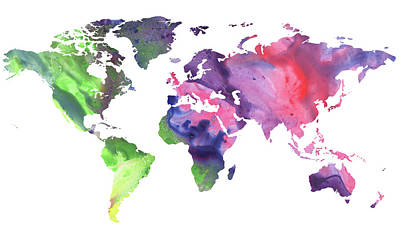 Painting - Bright Watercolor Map Of The World by Irina Sztukowski