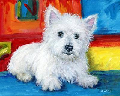 Westie Dog Painting - Bright Westie by Dottie Dracos