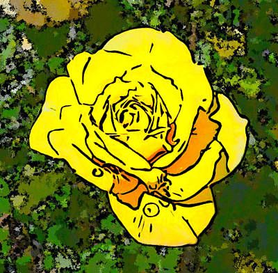 Bright Yellow Colored Rose Art Print by Bruce Nutting