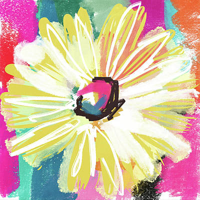 Yellow Daisy Wall Art - Mixed Media - Bright Yellow Flower- Art By Linda Woods by Linda Woods