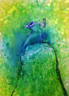 Painting - Bright Yellow Lime Peacock by Alma Yamazaki