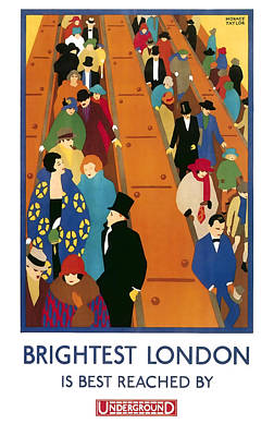 Rush Hour Digital Art - Brightest London By Underground 1924 by Daniel Hagerman