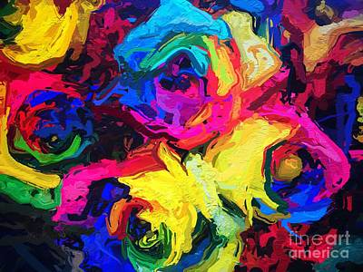 Brightly Colored Abstract Roses Art Print by Amy Cicconi