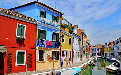 Photograph - Brightly Colored Houses Along A Canal On The Island Of Burano, Italy by Richard Rosenshein