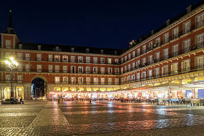 Photograph - Brightly Lit Midnight - Plaza Mayor In Madrid Spain by Georgia Mizuleva
