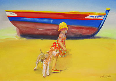 Painting - Brightly Painted Wooden Boats With Terrier And Friend by Charles Stuart