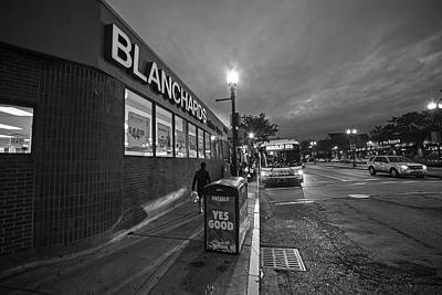 Photograph - Brighton Ave Packard's Corner Allston Ma Sidewalk Black And White by Toby McGuire